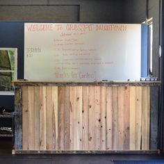 Our reclaimed wood was used to build this awesome front desk bar CrossFit Mudtown! Purely awesome!!!! To get your hands on some of our reclaimed wood for your next project, shoot us an email at info@evolutiamade.com ❤ #crossfit #fitness #evolutia