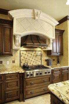 beautiful granite countertops on dark brown cabinets