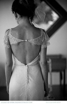 Vintage Wedding Dresses :: cap sleeves :: open back :: lace :: wedding dress :: bridal :: bride :: white ::