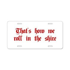 roll-in-shire-plaing-dark-red Aluminum License Pla on CafePress.com