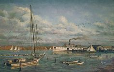 """""""Bay Country Landing"""" by Paul McGehee. The side-wheel steamboat """"Kent"""" heads down river for the Chesapeake Bay in 1894. The scene is of a rural boat landing on the Wicomico River of Maryland's Eastern Shore. In the days before bridges spanned the Chesapeake, steam packets such as """"Kent"""" were the main link to the city of Baltimore and its markets, across the Bay. A beautiful limited edition print! Edition size 950. Image size: 19"""" x 30 1/2"""". Price: $200.00 S/N."""