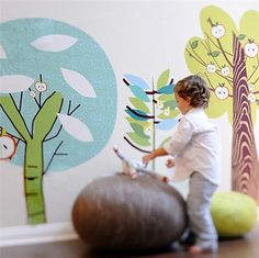 Enchant any kid's bedroom or playroom with the Enchanted Forest Trees Fabric Wall Decals.  With these repositionable wall stickers, you can create a whimsical forest scene on the walls in any room
