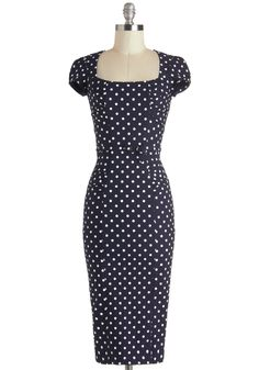 Dot You Agree? Dress - Blue, White, Polka Dots, Belted, Work, Pinup, Short Sleeves, Long, Sheath / Shift, Daytime Party, Vintage Inspired