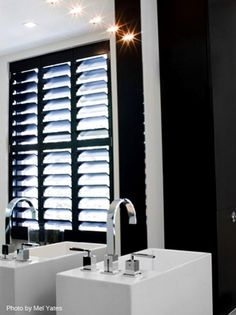 Window Wood Shutters Kelly Hoppen Black White Bathroom