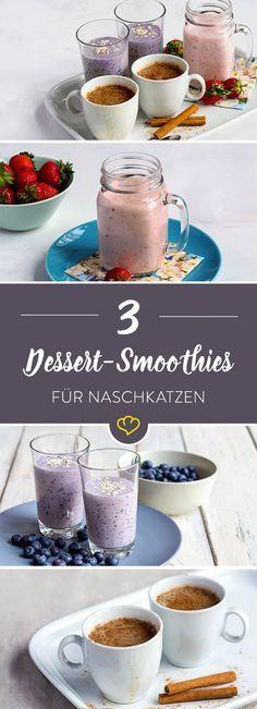 3 x lecker, 3 x schnell gemacht. Unsere Dessert Smoothies sind eigentlich zu schade, um nur als letzter Gang durchzugehen. Auch zum Frühstück oder als Frischekick zwischendurch machen sie sich hervorragend!