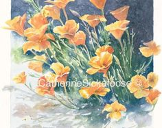 watercolor washington state wildflowers | Poppies, WATERCOLOR PAINTING, Ceram ic tile, desk top art with easel ...