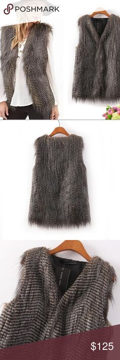 Boho vibes faux fur vest Gray faux fur vest super cute. Purchased from boutique new with tags. Super super super cute! Jackets & Coats Vests