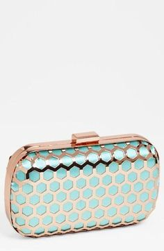 Mint + Rosegold clutch