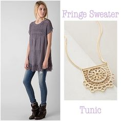 """✨Indian Summer✨ 💫Lovely textured fringe tunic....Open weave sweater.✨Length is 27.5"""". (M) Tops"""