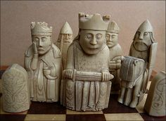 Viking Age chess pieces from the Isle of Lewis. Originals carved in walrus ivory. These are replicas from the British Museum. Photo by Peter Herring