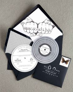 This record-inspired invitation alerts everyone to bring their dancing shoes because the music will be crazy good.