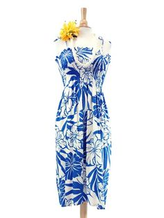 f7cc64639d1 Hibiscus Blue Rayon Hawaiian Summer Midi Dress