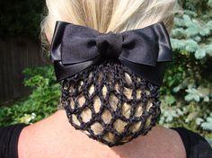 Black Satin Grosgrain Bow Snood Net Hair Barrette by fooshfarm