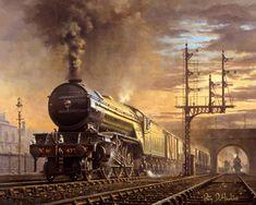 Fine art railways prints by the celebrated British artist Philip D Hawkins Train Posters, Railway Posters, Uk Rail, Steam Art, Foto Top, Steam Railway, Train Times, Train Art, Old Trains
