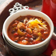 Warm-Me-Up Chicken Chili  Combine chicken, chopped vegetables and canned beans for this warm-and-comforting chili. Our recipe gives variations for Slow Cooker Chicken Chili as well as a spicier Chipotle Chicken Chili.