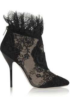 Jimmy Choo | Kamaris suede and lace ankle boots