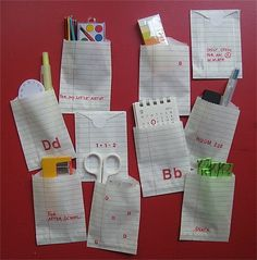 Cute little back-to-school bags made from notebook paper