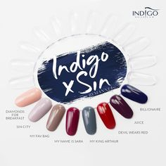 Indigo x Sin by Mannei  New Collection 8 new shades #indigo #nails #nailart #color #colors #palette #gelpolish #nailpolish