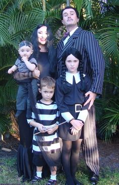 The Addams Family - Rummage through you wardrobes for any old black and white clothes and use a generous amount of eyeliner and you'll soon be singing  #Womens #Halloween #Costumes