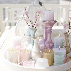 kaarsen - decoratie - kandelaar - pastel - candles