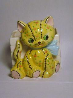 Vintage Shabby Yellow floral Cottage Chic Kitty Cat Kitten Teddy Bear Planter Japan Napco Lefton Porcelain Figurine Baby