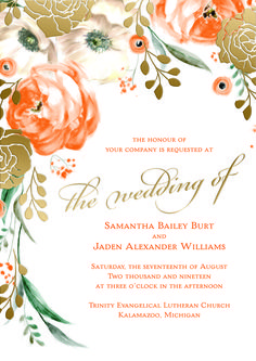Stunning floral themed wedding invitation customized in oranges and gold foil. So incredibly pretty! #loveyourinvites #fallwedding