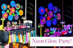 Neon Circle Fan Decoration for Blacklight Birthday Party Snack Table