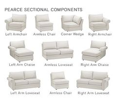 Build Your Own - Pearce Sectional Components Pottery Barn Living Room Sectional, My Living Room, Living Room Furniture, Home Furniture, Sectional Sofas, Couches, Living Spaces, Corner Sectional, Furniture Ideas