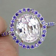Vintage 4CT Oval Cut Pink Kunzite Purple Amethyst Accented Ring - Joy of London Jewels
