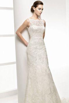 Illusion Bateau Neckline Sheath Wedding Dresses with Ravishing Lace Cover