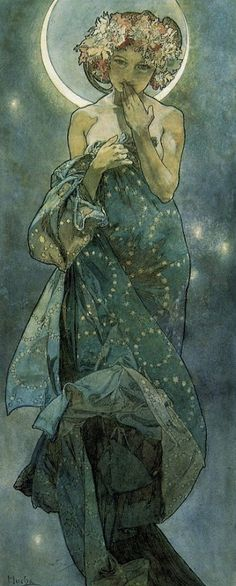 Mucha, 1895-1900. beautiful women with suggestive gestures, decorative flowers, flowing hair, subtle + striking color, all combine to create a compelling harmony of vision whose intention is to inspire and elevate the viewer. The Moon and the Stars: study for 'The Moon' (1902) This is the final of several drafts for this panel. The figure of the Moon covers her mouth with her hand as though compelling the viewer to silence. She also appears to be expressing surprise