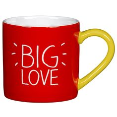 Enjoy your morning brew with Happy Jackson's bright and cheerful Big Love ceramic mug. In a punchy red hue with a vibrant yellow handle, the bottom of the mug is printed with '. Love Box, Big Love, Disaster Designs, Cute Messages, Living Room Red, Cool Mugs, Matching Gifts, Selling On Pinterest, Red Candy