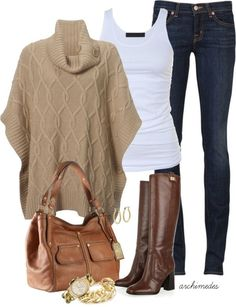 If the sweater was a darker brown, I'd love this whole thing