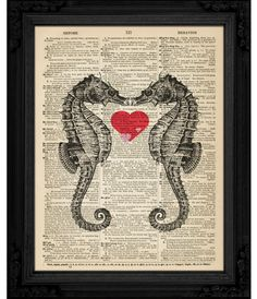 dictionary art Seahorse in Love on Vintage Dictionary Book Page Art Print - aquariums print on dictionary - 8 x 10. $10.00, via Etsy.