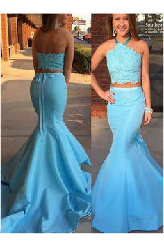 Long Blue Mermaid Halter Two Pieces Prom Dresses Party Evening Gowns 3020319