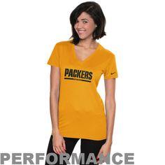 Nike Green Bay Packers Women's Legend Wordmark V-Neck Performance T-Shirt - Gold - $29.99