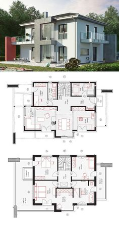 Modern City Villa OKAL House Family Classic Hipped Roof – Fin …- Modern City V… - Tangos. Family House Plans, Bedroom House Plans, Dream House Plans, House Floor Plans, House Floor Design, Home Design Floor Plans, Modern House Design, Villa Design, Plan Design