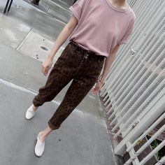Her Tee - Dried Rose Loose Pigments, Leopard Pants, Fabric Material, Vintage Ladies, Heather Grey, Tees, Sleeves, Model, Cotton