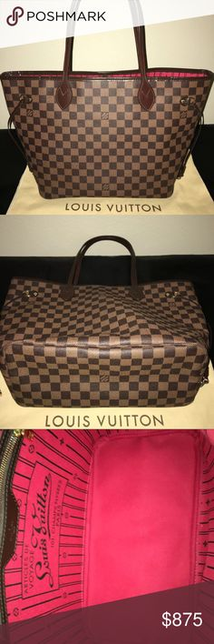 Beautiful pre-owned Louis Vuitton neverfull damier Authentic Louis Vuitton Neverfull Tote in the Damier Ebene print. I purchased this beautiful tote at the LV boutique in Las Vegas, NV a year ago . This purse has been carried gently for a few months & has been sitting in its dust bag & box inside my closet since. This purse is in excellent condition  Comes with Dust Bag, Box & receipt  no pochette .   I will be selling on 🅿️🅿️ for $550 ambercarson196@gmail.com 😊  12.6x 11.4x 6.7…