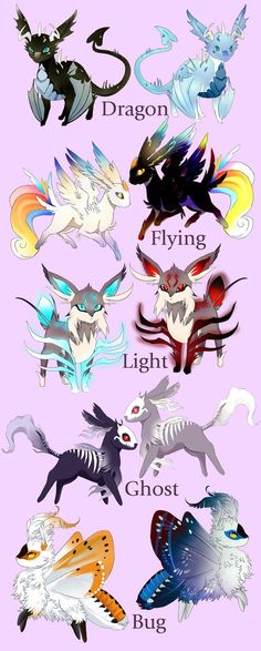 Fakemon: Blue's Eeeveelutions (with Shiny) by Blue-Hearts on DeviantArt