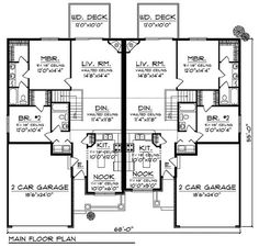 Duplex Home Plan with Curb Appeal - 89294AH | 1st Floor Master Suite, CAD Available, PDF | Architectural Designs--2515 sq.ft. (don't really like LR connecting the two sides though)