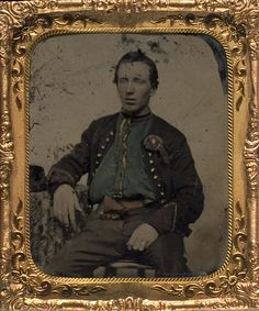 Civil War Union Soldier wearing Pro Abraham Lincoln Silk Cockade.