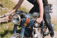 Fox & Seagull - And you kick it!  1972 Honda cb350 kick start - clubman bars, cafe racer, film photography, vintage motorcycle - photograph by Beckiy Weinberger