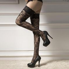 Casual 2017 New Attractive Luxury Sexy Women Net Stockings Thigh High Stockings Lace Wave Point Hosiery D 26 Stockings Legs, Stockings And Suspenders, Fishnet Stockings, Nylons, Sexy Women, Femmes Les Plus Sexy, Hot High Heels, Lace Print, Fashion Outfits