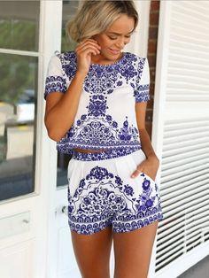 Retro Blue and White Porcelain Printed Two-Piece Chiffon Dress - WSDear.com