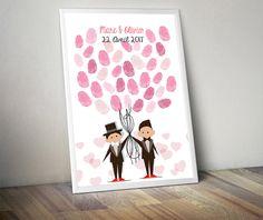 Affiche à empreintes pour mariage de 2 hommes -  Mariage gay