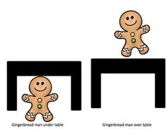 Free! Printable book, Gingerbread Man Under and Over with sentence strips/prompts.
