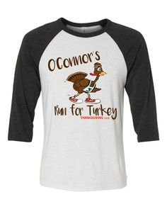 Personalize Family Name Turkey Trot baseball tee by runningtops on Etsy