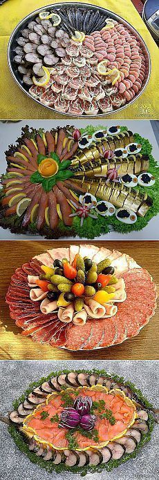 Праздничная нарезка -рыбная Party Trays, Party Buffet, Snacks Für Party, Meat Trays, Food Platters, Party Finger Foods, Food Decoration, Appetisers, Creative Food