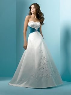 Satin Embroidery with metallic accent strapless princess line gown empire waistline optional beaded straps